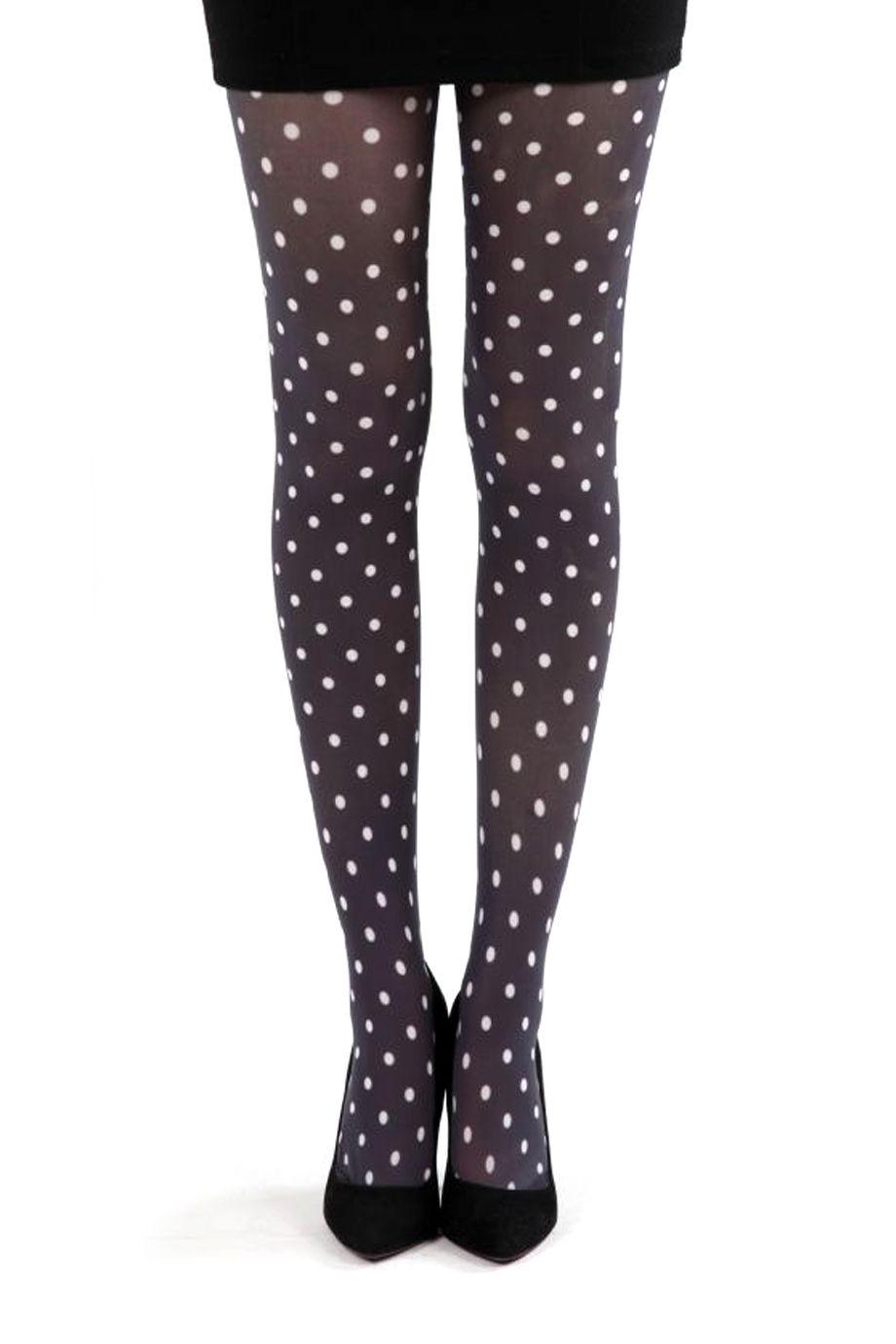 Polka dot B tights black/white