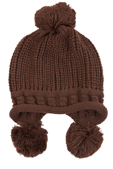 Knitted pom pom hat brown