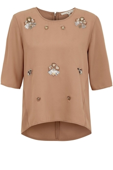 Art Deco Embellished top taupe