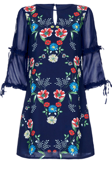 Sketchy Floral tunic-dress dark navy