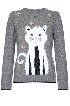 Snow Cat sweater grey