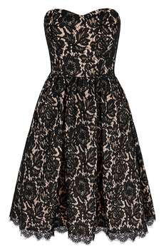 Lace Prom Bandeau dress black