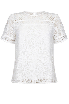 Flower Lace and Chiffon Top ivory