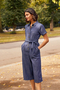 Denim Cropped Length Cotton Jumpsuit