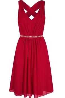 Midi Crystal Embellished dress red