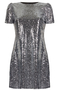 Sequin Embellished Party Dress silver