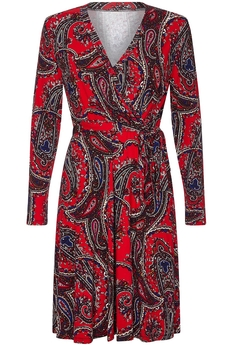 Paisley Print Jersey Wrap-Dress