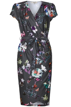 Digital Floral Wrap dress grey
