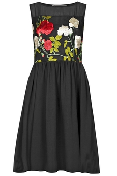 Rose Embroidery Chiffon dress black