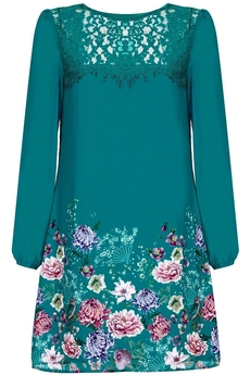 Oriental Botanical Lace dress jade