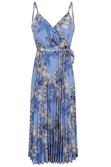 Butterflies and Florals Pleated Midi Dress