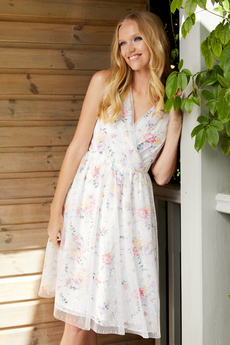 Garden Party Mesh and Floral dress white