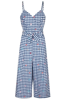 Travel Gingham jumpsuit dark navy
