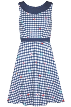 Travel Gingham Cotton dress navy