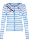 Striped Embroidered cardigan light blue