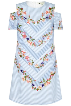 Stripe and Floral A-line dress white