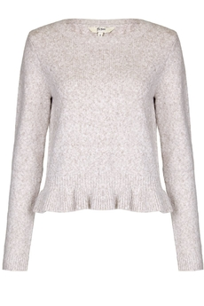 Frill Hem Knitted Sweater ivory