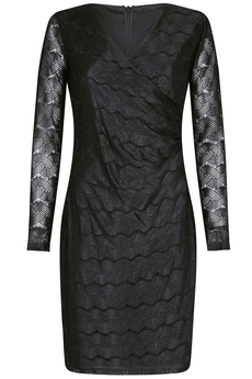 Chain-Lace Bodycon Wrap-dress black