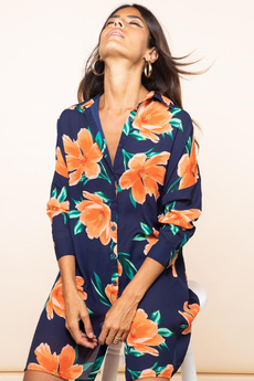 Jericho Shirt-Dress Orange Tulip on Navy