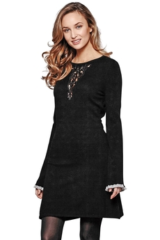 Lace-insert Knitted dress black