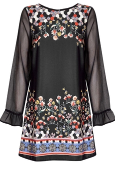 Hexagon Floral Tunic-dress black