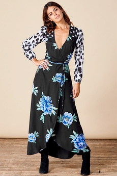Jagger Maxi Wrap-Dress mix Blue Peony