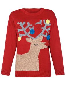 Christmas Pom Pom Reindeer Sweater red