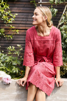 Briony Organic Cotton Dress Hibiscus Red