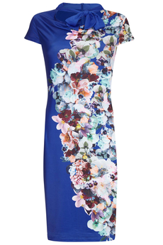 Midnight Floral Jersey Dress cobalt blue
