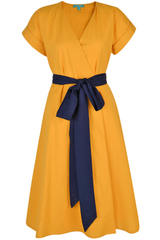 Natasha Cotton/Linen Wrap-dress honey