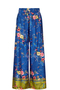 Chinoiserie Print Wide-Leg Trousers blue