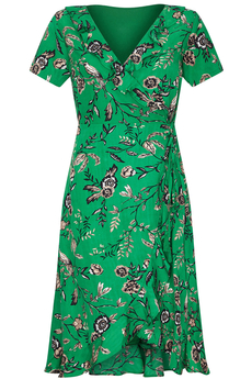 Green Floral Frill Wrap-Dress