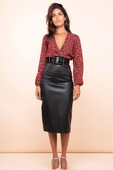 Reece Faux-Leather Midi Skirt