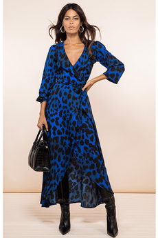 Jagger Midi Wrap-Dress Blue Leopard