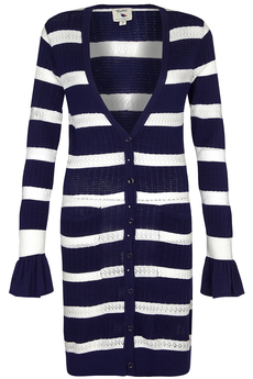 Striped Pointelle Knit Long Cardigan