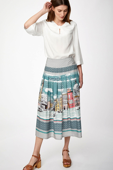 Canaletto Tencel Printed Midi Skirt