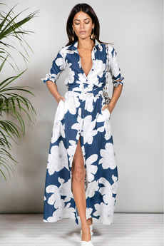 Dove Maxi Shirt-Dress in Navy Bloom