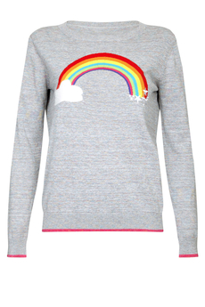 Rainbow Sparkling Jacquard Knit Sweater