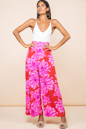 Joey Palazzo Trousers in Pink on Red Bloom