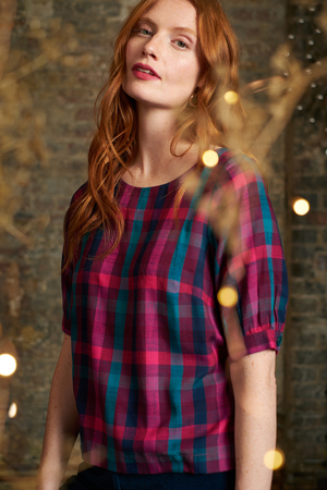 Ava Top in Jewel Plaid