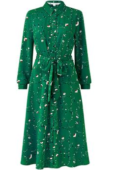 Heart and Ditsy Floral Shirt-Dress Green