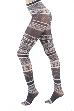 Fairisle Printed Tights black/white