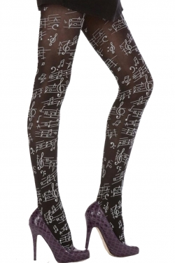 Musical Notes Flocked Print Tights black