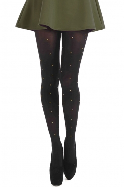 80 Denier Small Gold Studs Tights black