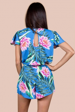 Rio Playsuit in Tropical Lotus