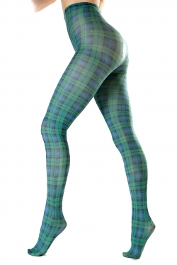Black Watch Tartan Printed Tights blue/green