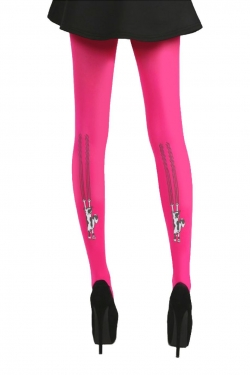 Flocked Climbing Cats tights flo pink