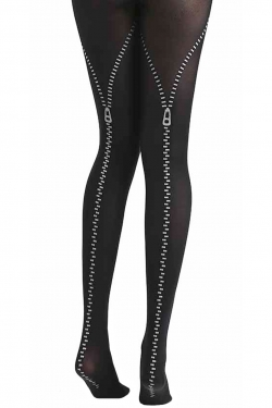 Zip Flocked Print Tights black