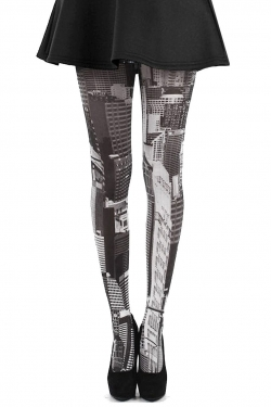 Skyline Printed Tights black/white