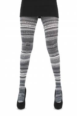 Words Printed Tights black/white